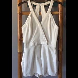 XS White Tuxedo Style Romper